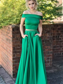 Two Piece Off-the-Shoulder Sweep Train Green Satin Prom Dress with Beading Pockets PD0125023