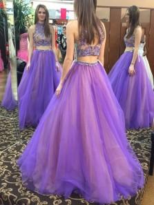 Gorgeous Two Piece Halter Open Back Purple Prom Dress with Beading, Formal Elegant Evening Dresses, Princess Dresses 3755407