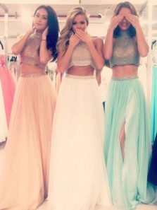 Gorgeous Two-pieces Beading Halter Neck Long Prom Dress 3755411, Sparkly Long Evening Dresses