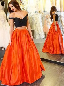 Charming Ball Gown Two Piece Off the Shoulder Black & Green Satin Prom Dress, Formal Elegant Evening Dresses 3755413