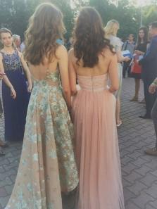 Elegant Halter A Line Brush Pink Tulle Lace Long Prom Dress Evening Dress