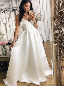 Gorgeous A Line V Neck Backless Spaghetti Straps Ivory Satin Wedding Dresses with Applique WD0721007