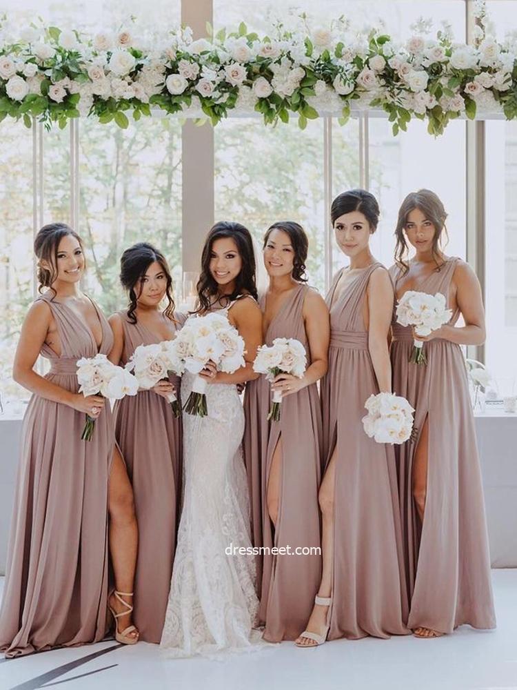 Elegant V Neck Chiffon Dusty Blush Chiffon Slit Long Bridesmaid Dress Under 100