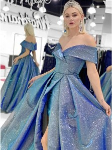Sparkly Ball Gown Off the Shoulder Slit Royal Blue Sparkly Satin Prom Dresses with Pockets