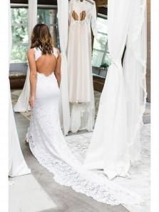 Gorgeous Halter White Lace Mermaid Long Wedding Dress with Slit
