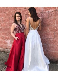 Gorgeous V Neck Open Back Red Beading Long Prom Dresses with Pockets, White Long Evening Dresses PD0017