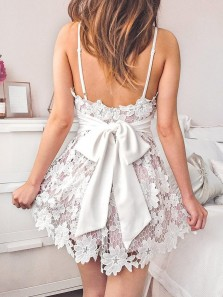 Cute Short Lilac Satin White Lace Homecoming/ Party Dress HC0065