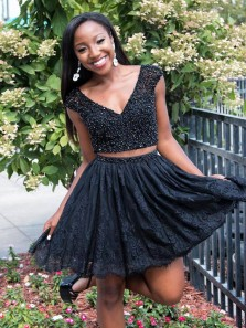 Beading Tow Piece Homecoming Dress,V-Neck Cocktail Dress,Black Lace Pageant Dresses