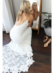 Charming Mermaid V Neck Open Back White Lace Beach Wedding Dress with Slit, Fairy Wedding Dress