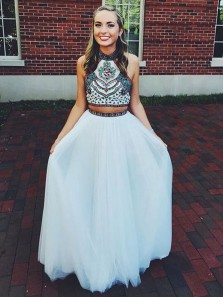 Cute Halter Neck White Open Back Two Piece Tulle Prom/ Homecoming Dress with Embroidery HC0039