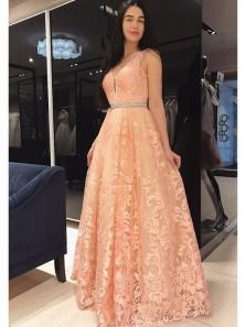 Vintage Floral Lace Long Orange Prom Dresses Sexy Deep V Neck A-Line Evening Party Dresses