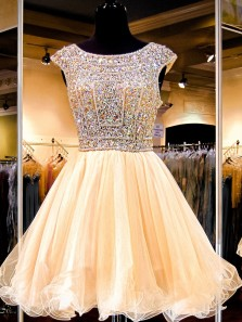 Princess Beaded Bodice Open Back Short Homecoming Dress With Beading