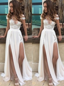 Charming V Neck Cap Sleeve Slit Open Back Flowy Chiffon Beach Wedding Court Train with Applique WD00127