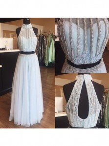 Discount Gorgeous Light Blue Two Piece Halter Tulle Beaded Long Prom Dresses