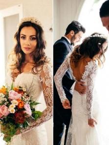 Sexy Mermaid V Neck Open Back Long Sleeves Ivory Lace Beach Wedding Dress