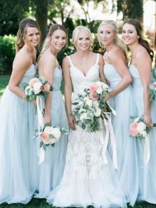 Simple A Line Sweetheart Sky Blue Chiffon Long Bridesmaid Dresses Under 100, Custom Bridesmaid Dresses