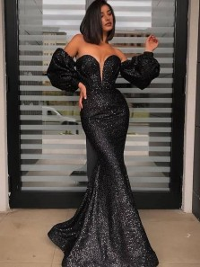 Sparkly Sexy Mermaid Ruffled Long Sleeves Black Sequins Long Prom Dresses, Party Dresses