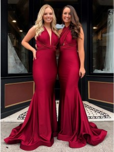 Charming Mermaid V Neck Cross Back Long Prom Dresses with Train, Dark Red Evening Dresses