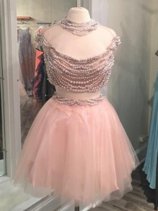 Unique A Line Tulle Jewel Neckline 2 Pieces Homecoming Dresses With Pearls