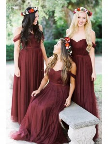 Gorgeous Off the Shoulder Burgundy Long Bridesmaid Dress