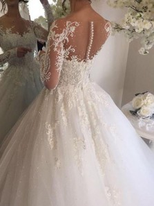 White Appliqued Ball Gown Wedding Dress ,Classic Long Sleeve Wedding Dress