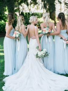 Simple A Line Sweetheart Sky Blue Chiffon Long Bridesmaid Dresses Under 100, Custom Bridesmaid Dresses