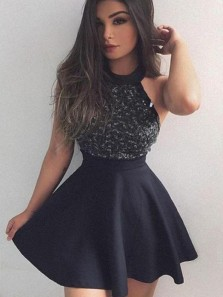 Cheap Short Little Black Dress Homecoming Dresses With Beaded/Beading