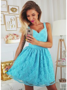 High Fashion A-Line V-Neck Blue Short Homecoming Dress with Flowers
