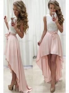 Sweet 16 White and Pink Lace Homecoming Dress Grad Dress HC0053