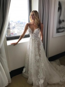 Gorgeous Straps A-line White Long Wedding Dress with Court Train WD007