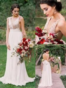 Elegant A-line V Neck Sequins Long Bridesmaid Dress with Open Back BD0011