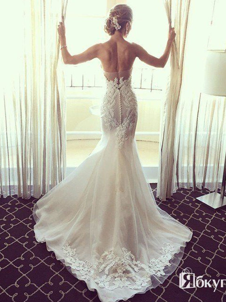 Charming Mermaid Sweetheart Strapless Open Back Court Train Lace Wedding Dress With Applique Dressmeet Com