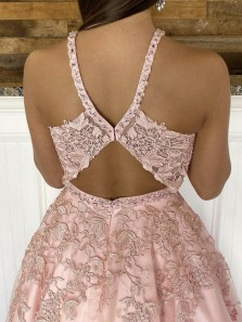 Fashion Ball Gown V Neck Open Back Blush Pink Lace Prom Dresses with Beading, School Party Dress