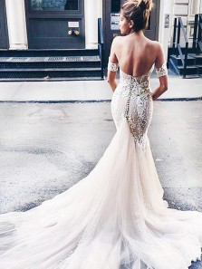 Stylish Sweetheart Watteau Train Mermaid Wedding Dress with White Lace