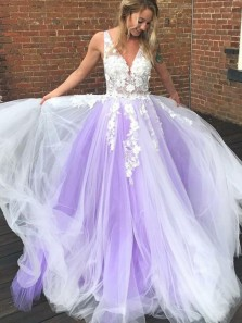 Stylish A-Line V Neck Open Back White Lavender Tulle Long Prom Dresses with Appliques,Formal Evening Prom Dresses PD0313005