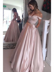 Cute A Line Pink Sweetheart Off Shoulder Prom Dress