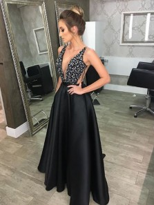 Charming A-Line Deep V Neck Backless Black Long Prom Dresses with Beading, Sexy Black Evening Dresses PM005