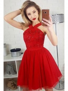 Cute A-Line Straps Red Homecoming Dresses,Sleeveless Short Prom Dress With Sequins
