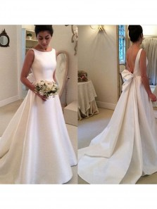 Simple Ball Gown White Satin Long Wedding Dress Open Back Ribbon Train with Bow WD008