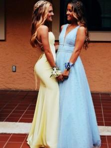 Mermaid Scoop Neck Spaghetti Straps Daffodil Saitn Tight Prom Dresses, Party Dresses
