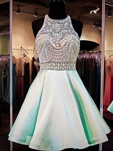 A Line Sleeveless Mint /Short Homecoming Dresses With Beads HC0034