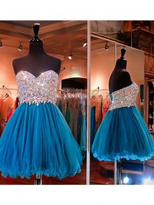 Cute A Line Sweetheart Blue Tulle Short Homecoming Dress With Beading