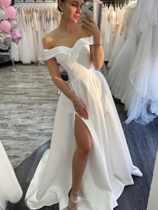 Charming Fashion Ball Gown Off the Shoulder Split White Satin Long Wedding Dresses
