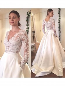 Gorgeous Ball Gown Elegant Long Sleeves White Long Wedding Dress With Lace Applique