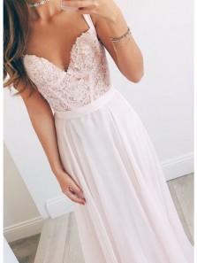 Elegant V Neck Pink Chiffon Long Prom Dresses with Lace, Formal Evening Dresses