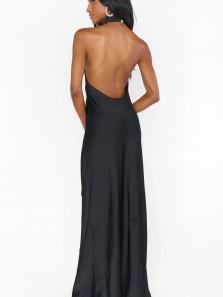 Sheath Halter Backless Satin Long Prom Evening Dresses 2021