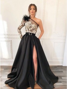 Gorgeous Ball Gown One Shoulde Black Satin Split Prom Dresses with Lace, Evening Dresses with Pockets