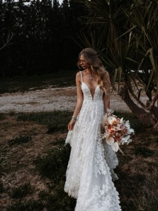 Charming A-Line V Neck Lace Wedding Dresses