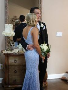 Gorgeous Mermaid Blue Lace Long Prom Dress Evening Dress