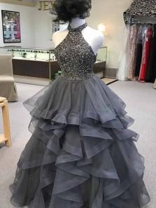 Sparkly Ball Gown Halter Grey Long Prom Dresses, Elegant Evening Dresses PD0209010